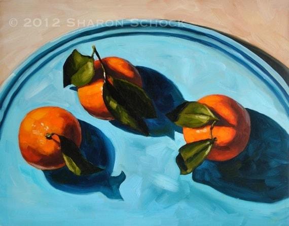 Still Life Painting - Orange and Blue -  11x14