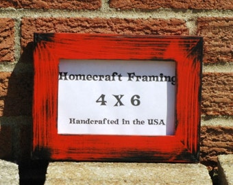 4X6 Picture Frame Distressed Red Black Shabby Chic Wooden Photo Frame