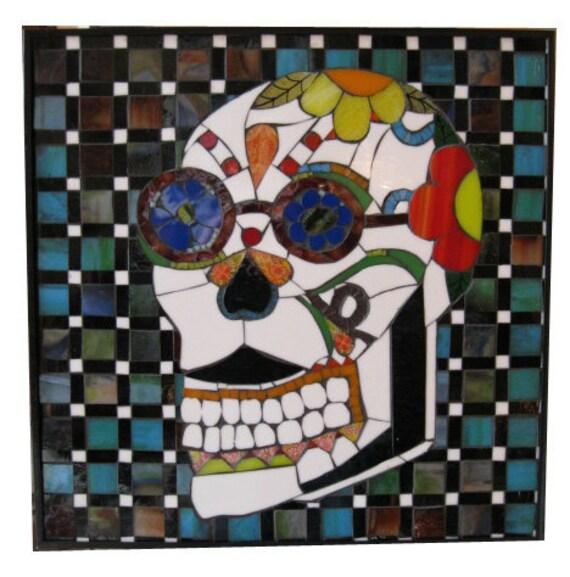 Day of the Dead Skull Art Glass Mosaic Scott Seekins Minneapolis SALE