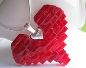 Stained Glass Mosaic Red Heart Necklace