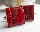 Mosaic Ruby Red Men's Cuff Links