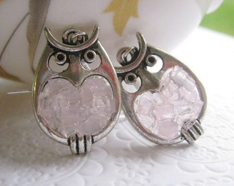 Stained Glass Little Pink Owl Earrings