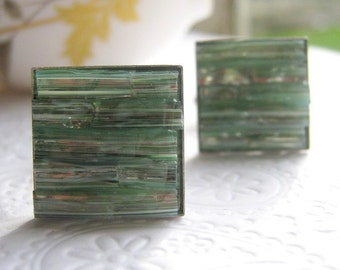 Sea-foam Cufflinks, Light Green Square Silver, Stained Glass Inlayed, Seaside Destination Wedding, Black Suit Cuff Links