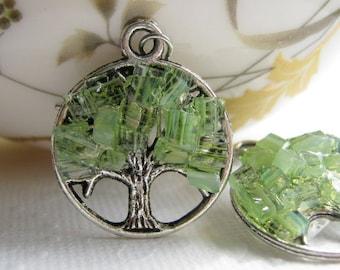 Peridot Stained Glass Summer Tree Earrings