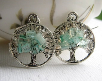 Ice Blue Earrings, Winter Tree, Tree Charm Earrings, Frozen Tree Earrings, Stained Glass Tree