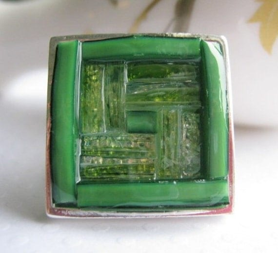 Stained Glass Mosaic Green Square Ring