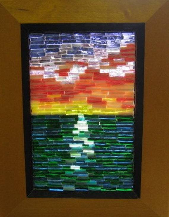 Stained Glass Mosaic Art Ocean Sunset