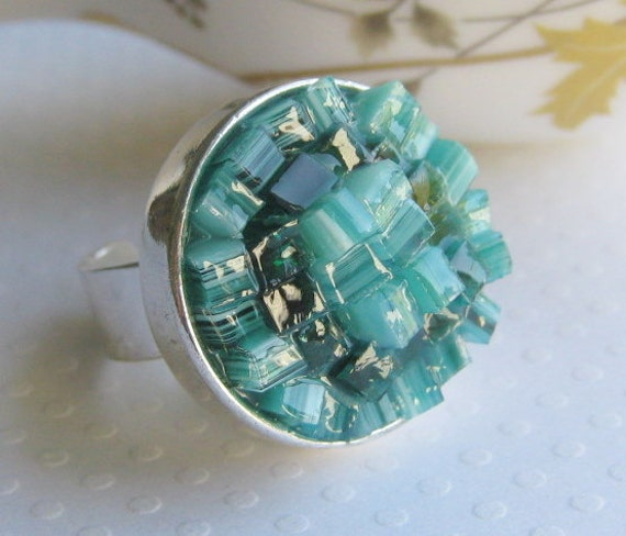 Sea Anemone Ring, Aquamarine Ring, Sea Creature Jewelry, Stained Glass Ring, Chunky Coral Ring