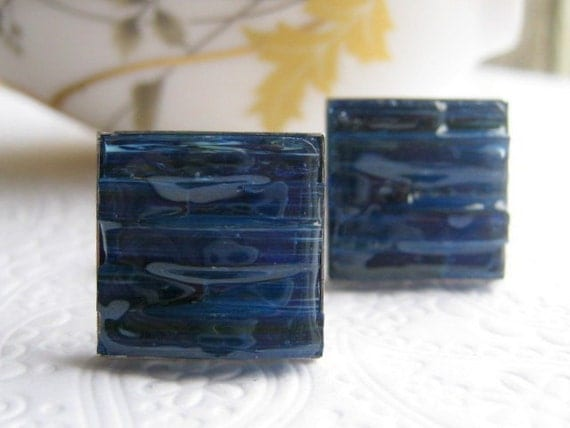 Stained Glass Mosaic Navy Blue Cuff Links