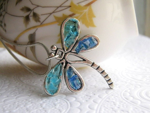 Stained Glass Blue Dragonfly Necklace