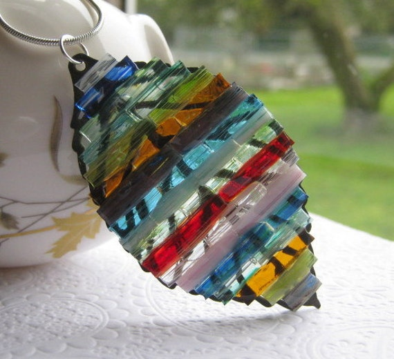 Stained Glass Leaf Pendant