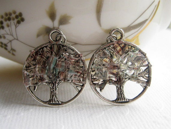 Stained Glass Silver Tree Earrings Tree Of Life Irrisescent Glass Crystal Cubes Chunky Earrings Silver Striped Clear Resin Cut Glass Square
