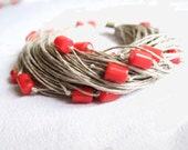 Red Coral Linen Bracelet Summer Fashion Jewelry Multistrand Wild Strawberries Tango Scarlet Gray Grey Crimson Lust Passion Minimalist