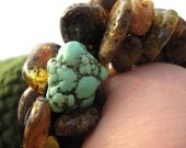 Raw Amber Turquoise Bracelet Howlite Earthy Colors Green Brown Dark Rough Raw Gemstone Beaded