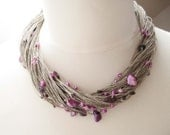 Purple Pearl Necklace, Multi Strand Necklace, Linen Necklace, Freshwater Pearls, Lavender
