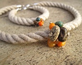 Sailing Rope Jewelry Summer Fashion Choker Necklace Bracelet Set Raw Stone Amber Turquoise Coral Orange Teal Earthy Nautical Cluster Pendant