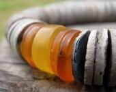 Asymmetrical Statement Necklace Gray Shell Golden Honey Amber Geometric Chunky Yellow Orange Sunny Minimalist Summer Fashion Jewelry Silver