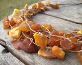 Rough Amber Necklace Linen Natural Baltic Eco Friendly Unpolished Brown Orange Earthy Colors Raw Gemstone