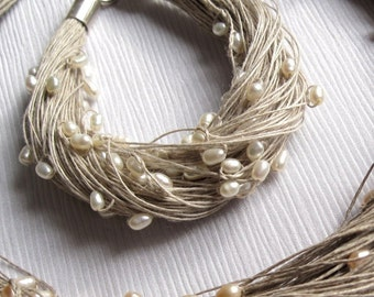 Pearl Bracelet Linen Wedding Jewelry Bracelet White Summer Bride Eco Friendly Fashion Cottage Chic