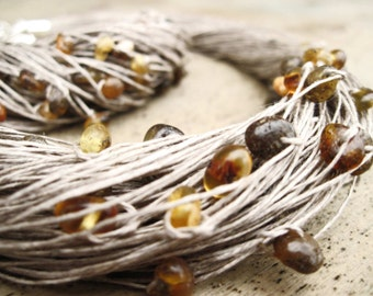 Baltic Amber Multi Strand Necklace Bracelet Set Linen Jewelry Eco Friendly Wedding