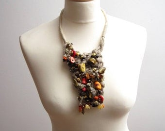 Multicolored Baltic Amber Red Coral Bib Necklace,  Linen macrame Necklace, Natural Baltic Amber, Bib Statement Necklace, OOAK, Earthy Colors