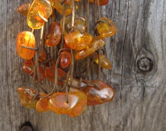 Baltic Amber Necklace, Natural, Dark Honey Amber, Brown Cord, Sunny, Honey Bee, Multi Strand Necklace