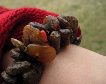 Rough Stone Bracelet Dark Baltic Amber Red Coral Bracelet Earthy Colors Orange Black Summer Fashion Jewelry