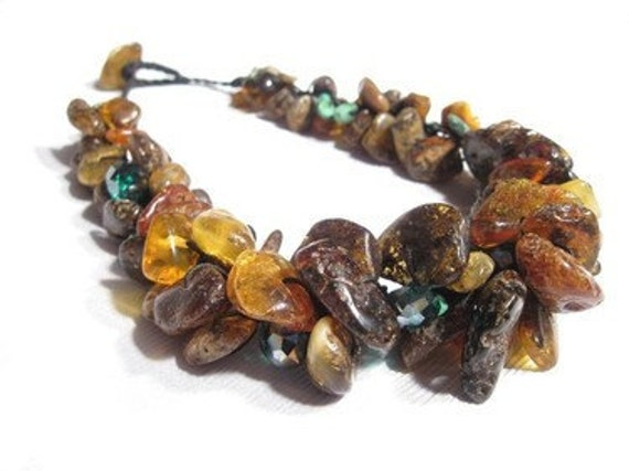 Dark Raw Amber Necklace - Natural Earthy Rustic Jewelry - Brown Yellow Honey Green - Organic Beach Summer Fashion