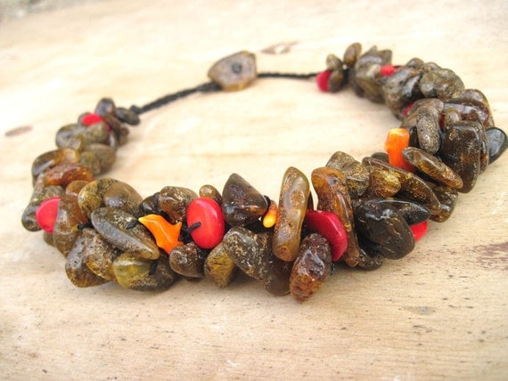 Dark Raw Unpolished Amber Necklace Summer Fashion Jewery Natural Red Orange Coral Black Cord