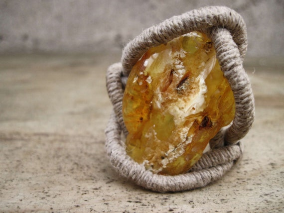 Baltic Amber Bracelet, Natural Linen, Raw Amber, Fresh Honey, Butterscotch, White, Lemon, Huge