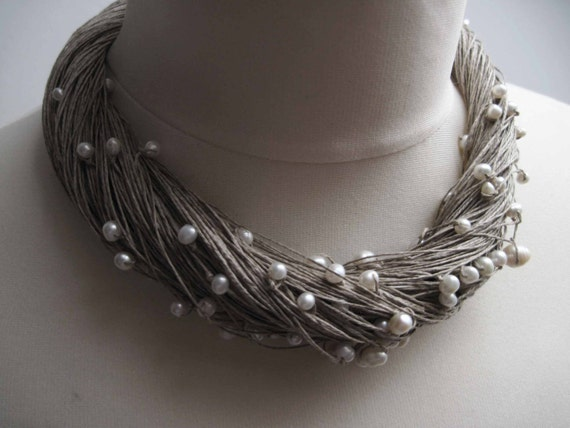 Multi Strand Pearl Necklace Linen Statement Wedding Necklace White Gray Natural