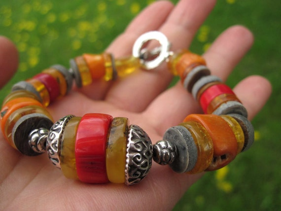 Gemstone Bracelet Summer Fashion Jewelry Red Coral  Amber Yellow Honey Gray Shell Disks Chunky Toggle Clasp African OOAK Orange Natural