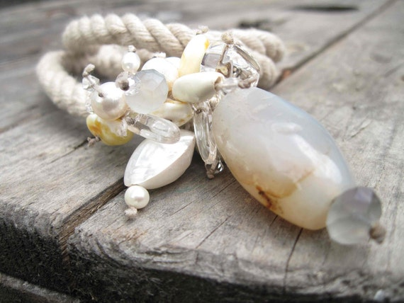White Pearl Shell Agate Amber Necklace Linen Sailor Rope Statement Necklace Snow White OOAK