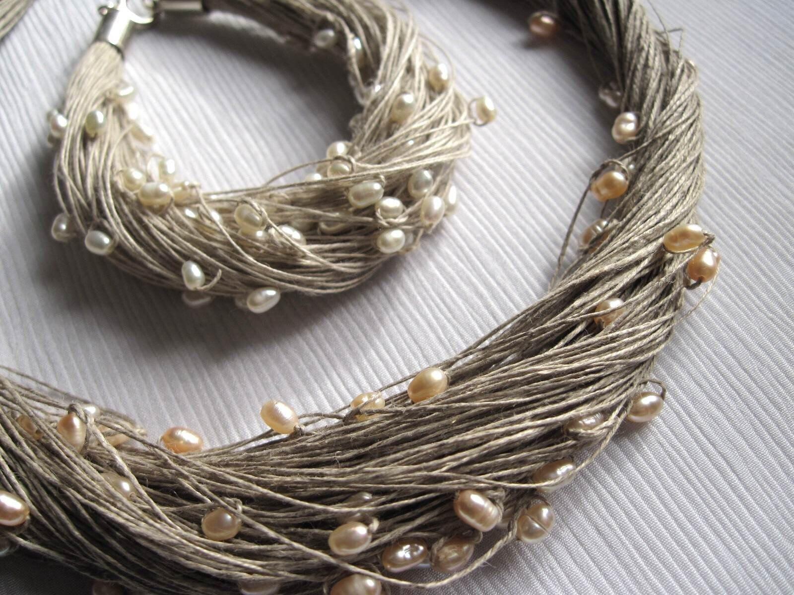 natural pearls linen necklace bracelet wedding set multistrand. Black Bedroom Furniture Sets. Home Design Ideas