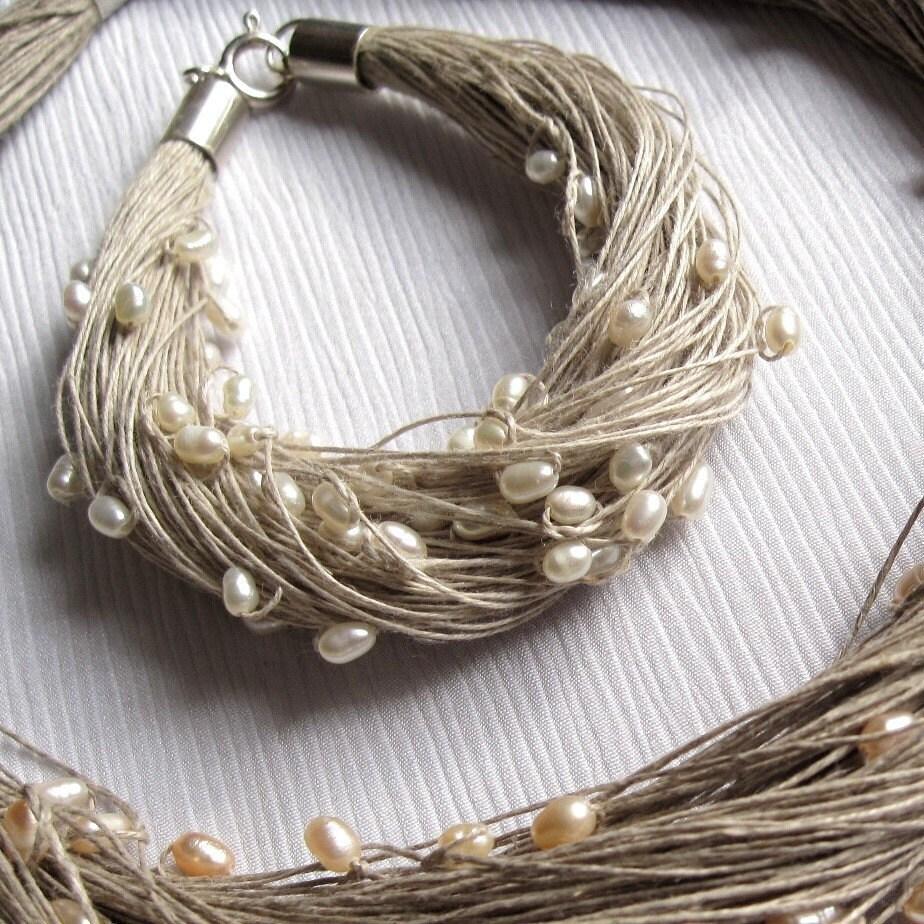 Linen Jewellery: Pearl Bracelet Linen Wedding Jewelry Bracelet White Summer