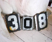 Vintage House Numbers , 3 Shabby Glass Address Numbers