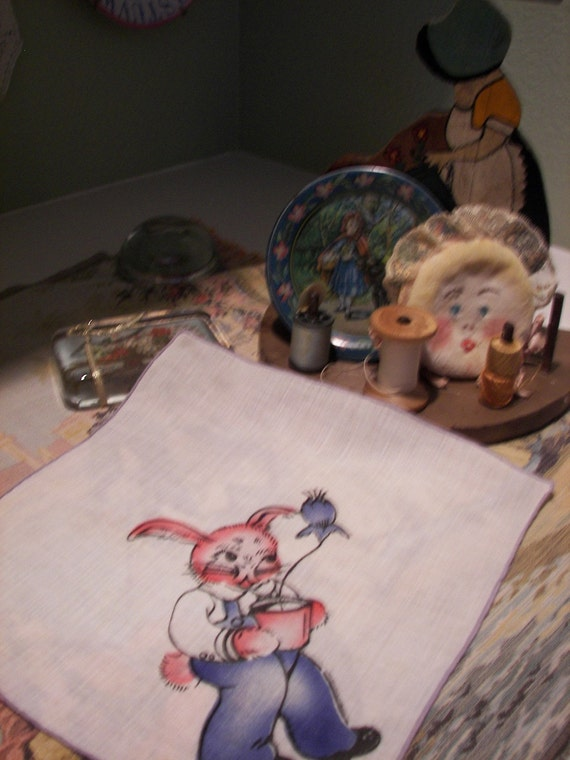 Childrens Hankie with Rabbit carrying Flower Pot, ON SALE