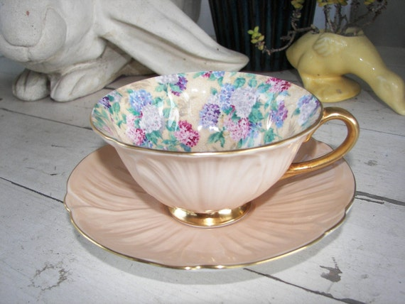 Vintage Shelley Tea Cup and Saucer Summer Glory in Chintz Oleander Shape, On Sale
