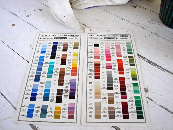 Vintage JP Coats and Clark's  1953 Thread Color Chart