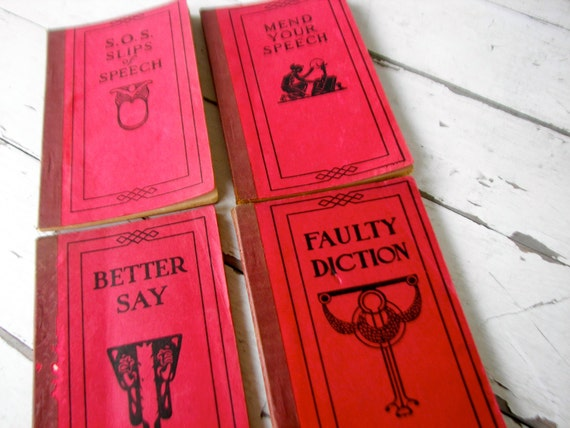 Vintage Small Booklets on Slips of Speech, Mend your Speech,1920's by Frank H. Vizetelly, On Sale