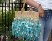 Upcycled Teal Reclaimed Handbag Tote Recycled with Yarn - Funky Hip Shag Bag