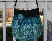 Teal Upcycyled Purse Handbag - Recycled with Yarn & Fabric - Funky Hip Shag Bag by YaY Jewelry