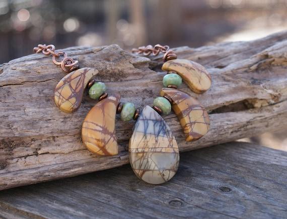 Tribal Necklace - Cherry Creek Jasper Puzzle Piece - Earthy Bohemian Jewelry by YaY Jewelry