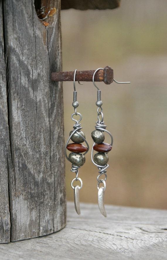 Tribal Seed & Pyrite Wire Wrapped Earrings - Earthy Earrings by YaY Jewelry