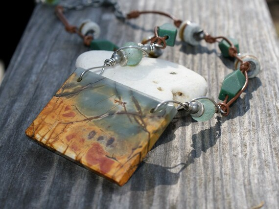 Slab Necklace Marshland - Red Creek Jasper - Natural Amazonite - Recycled Glass - Earthy Jewelry by YaY Jewelry