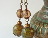 Olive Agate Earrings, Brown Vintage Style Dangles