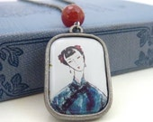 Asian Woman Pendant, Charm Necklace, Red Carnelian Stone, Antique Silver Chain, Resin Pendant, Boho Necklace