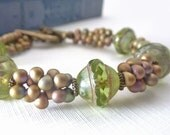 Lime Green Bracelet, Beaded, Picasso Glass Seed Bead, Bronze Heart Clasp