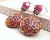 Cloisonne Earrings, Orange Red, Bohemian Bronze Dangles
