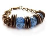 Chunky Chain Bracelet, Blue Agate Stone, Greek Mykonos Beads, Bronze Chain, Bohemian Jewelry by RockStoneTreasures